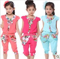 Children's clothing female child summer 2014 chiffon peter pan collar casual sports child set