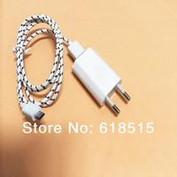Portable EU Plug Wall Charger Adapter+USB Sync Data Charging Cable Cord for samsung 10 color)