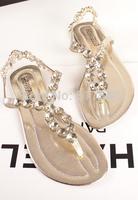 2014 New aArrive  Handmade Gemstone Diamond Star Romans Beaded Clip Toe Flat Shoes Diamond Sandals Flip The Tide