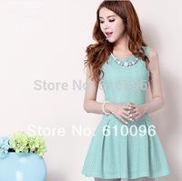 2014 summer new small fresh sweet Ruili hollow lace vest dress sleeveless dress