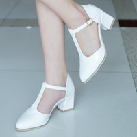 2014 sweet all-match women's shoes fashion sexy cutout pointed toe high-heeled shoes thick heel