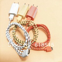 Universal EU Wall Charger Adapter +fabric braided Style Micro USB Data Sync Charger Cable for Samsung