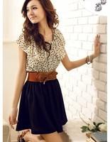 2014 new summer women's sweet temperament waisted dress dot dress