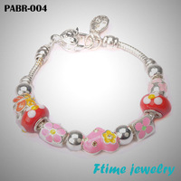 Hot Sell 925 Silver European Charm Bracelets And Bangle for Women with Murano Glass Beads Fashion DIY Jewelry PABR-004