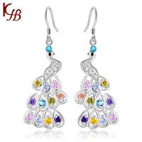 2014 New Fashion 925 pure silver peacock earrings  drop earring