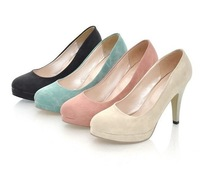2014 summer candy color thin heels ol high-heeled shoes round toe platform women's shoes work shoes