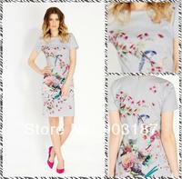 Free shipping 2014 spring new round neck short sleeve bird print dress 7900