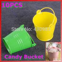 10pcs/lot Mini Cute Chocolate Candy Bucket Keg Wedding Party Favors Kisses DIYFree Shipping wholesale/retail