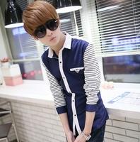 Teenage 2014 spring shirt male long-sleeve slim casual shirt men's clothing shirt