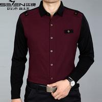 2014 spring SEVEN male long-sleeve shirt easy care turn-down collar casual shirt T-shirt
