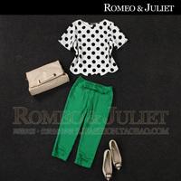 Summer women's 2014 polka dot top bow green capris casual set