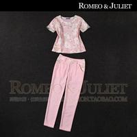 2014 summer women's organza print short-sleeve top skinny casual pants set