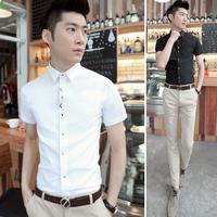 Male short-sleeve shirt slim male business casual short-sleeve shirt male shirt