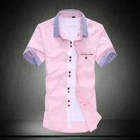 Summer plus size plus size patchwork short-sleeve shirt fashionable casual short-sleeve shirt slim men's clothing