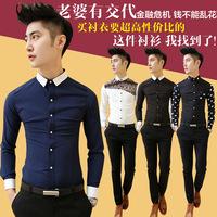 2014 spring british style shirt male shirt male long-sleeve shirt slim male flower shirt