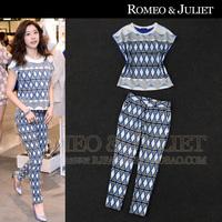 Summer women's 2014 knitted cotton rhombus patchwork print t-shirt skinny pants set