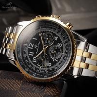 Ks Aviator Relogio Masculino Luxury Day Date 24 Hours Display Full Steel Watch Men Automatic Mechanical Mens Wristwatch / KS158
