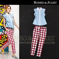 2014 summer women's fresh turn-down collar shirt polka dot print skinny casual pants set