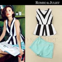 2014 summer fashion women's black and white stripes vest brief shorts casual set