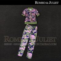 Summer women's 2014 Camouflage print gauze casual top skinny pants sports set