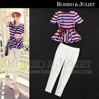 2014 spring and summer women's multicolour stripe skirt top slim skinny pants set