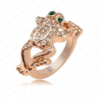 Fashion Brand Rings 18K Gold Plate Austrian Crystal SWA Element Jumping Frog Ring Birthday Gift Ring Fashion Jewelry   RC145