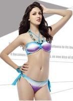 2014 spa classic stripe bikini embellishment female swimwear