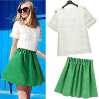 Fashion summer 2014 small organza twinset chiffon one-piece dress set patchwork gauze polka dot