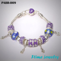 Hot Sell 925 Silver European Charm Bracelets And Bangle for Women with Murano Glass Beads Fashion Bracelets DIY Jewelry PABR-009