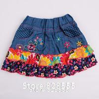 Vestido Bebe 2014 New Kids Cotton Baby Girl Little Skirt Pleated Flower Denim Baby Roupas Meninas Girls Cowboy Mini Skirt
