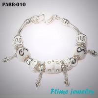 Charm Bracelets&Bangles,925 sterling silver bracelets for women, fine white beads charm bracelets jewelry free shipping PABR-010