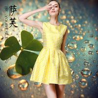 2014 spring and summer women's fashion yellow polka dot neon slim waist ladies one-piece dress