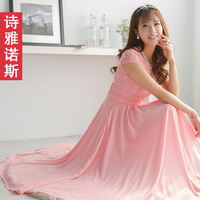 Thyanose2014 short-sleeve slim lace fashion expansion bottom chiffon one-piece dress full dress