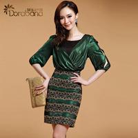 Dora fashion women's 2014 spring elegant ol gold thread lace one-piece dress slim hip skirt