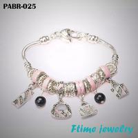 Charm Bracelets & Bangles 925 sterling silver bracelets for women fine pink beads charm bracelets jewelry free shipping PABR-025