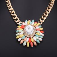 Hotsale  Fashion Crystal Gem Necklace Pendant, Chunky Choker ,Statement Necklace & Pendant ,Flower Necklace For Women