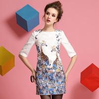 Summer 2014 fashion print half sleeve spring women one-piece dress