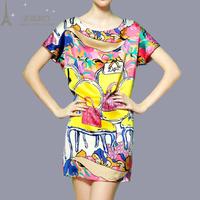 2014 summer fashion plus size one-piece dress print satin silk one-piece dress female