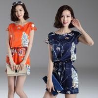 Hot-selling 2014 fashion short-sleeve silk one-piece dress mulberry silk print plus size slim waist slim hip short skirt