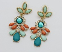 Gothic European style fashion cute butterfly sapphire crystal beads pendant earrings C355