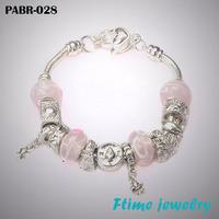 Free shipping Fashion European Style 925 Silver Charm Bracelets Bangle for Women Silver Beads Bracelet DIY Jewelry PABR-028