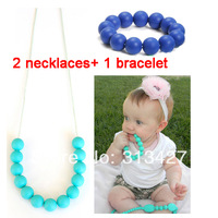 Free Shipping 2pcs Chew silicone teething necklace and 1pc silicone teething bracelet Jewelry sets