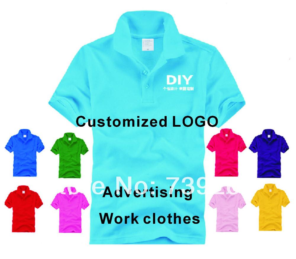 Free shipping 100pcs/lot Enterprise Customized Pure Polo Advertising T-shirt/ Work Clothes Professinal Printing LOGO(China (Mainland))