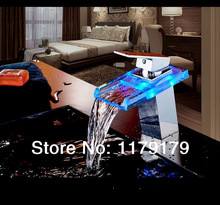 LED basin LED 3 colors waterfall faucet cool and hot faucet copper chrome finishing faucet 8802