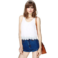 Women's Scoop Neck Backless Angell Wing Vest Shirt Sleeveless Blouse Tops White Free Drop Shipping