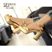 2014 Summer Elegant  Geniune Cow Leather  Rhinestone Platform Breathable Rough High Heel Women's Sandals Europe Size 34-39