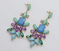AliExpress sale 2014 new high quality artificial gemstones amethyst butterfly pendant earrings C357