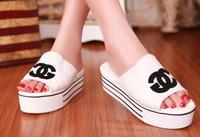2014 female sandals platform shoes platform slippers female casual canvas open toe drag