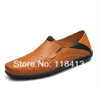 2014 men's head layer yellow oxfords high-grade leather shoes
