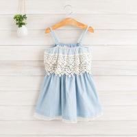 2014 New summer,girls slip dress,children lace denim dress,blue,2-8 yrs,5 pcs / lot,wholesale kids clothing,1105